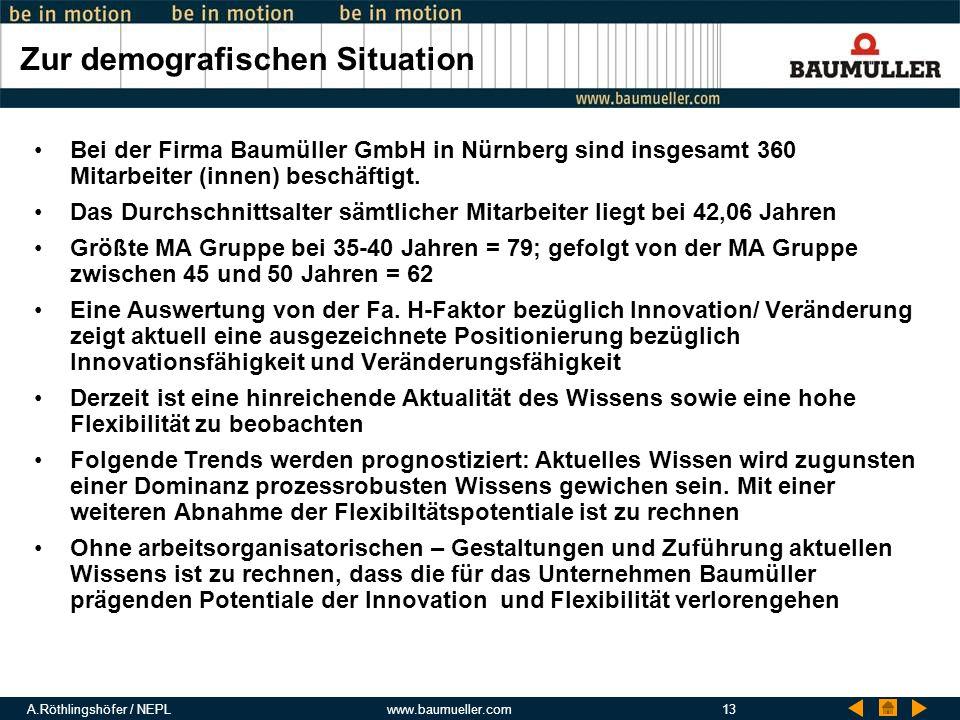 A.Röthlingshöfer / NEPLwww.baumueller.com13 Zur demografischen Situation Bei der Firma Baumüller GmbH in Nürnberg sind insgesamt 360 Mitarbeiter (inne