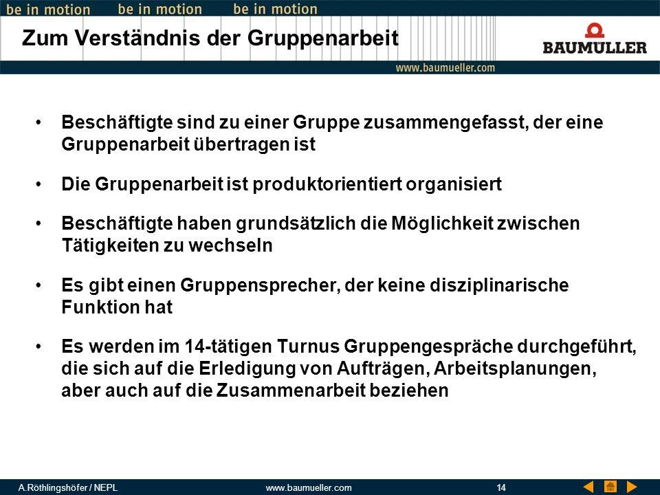 A.Röthlingshöfer / NEPLwww.baumueller.com14 Zum Verständnis der Gruppenarbeit Beschäftigte sind zu einer Gruppe zusammengefasst, der eine Gruppenarbei
