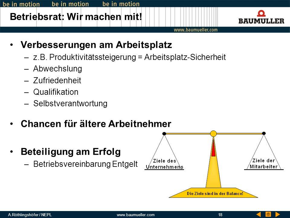 A.Röthlingshöfer / NEPLwww.baumueller.com18 Betriebsrat: Wir machen mit! Verbesserungen am Arbeitsplatz –z.B. Produktivitätssteigerung = Arbeitsplatz-