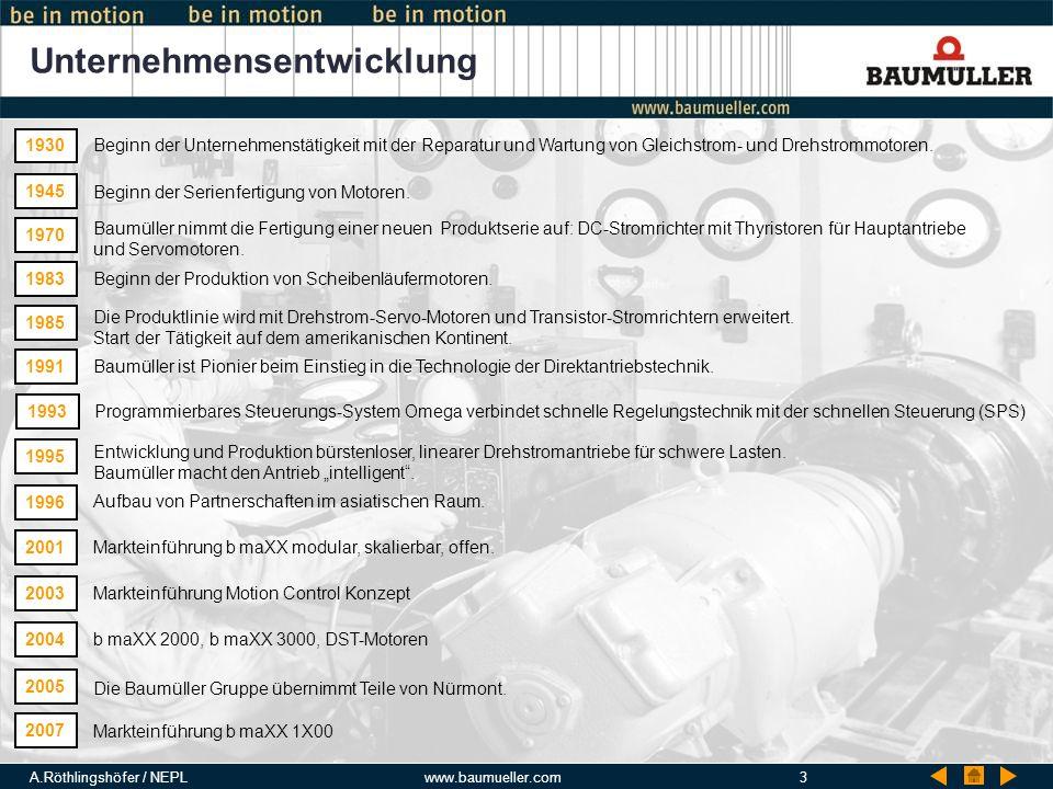 A.Röthlingshöfer / NEPLwww.baumueller.com3 Unternehmensentwicklung 1930 Beginn der Unternehmenstätigkeit mit der Reparatur und Wartung von Gleichstrom