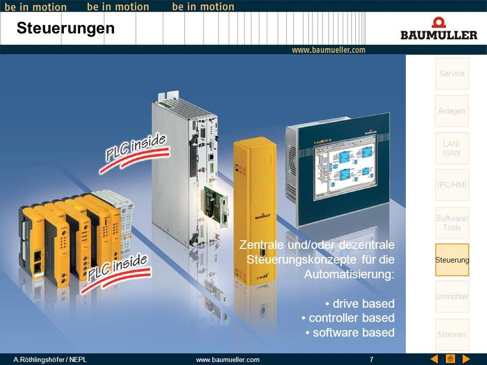 A.Röthlingshöfer / NEPLwww.baumueller.com7 Steuerungen Service LAN/ WAN IPC/HMI Software/ Tools Steuerung Umrichter Motoren Anlagen Zentrale und/oder