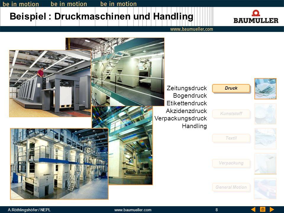 A.Röthlingshöfer / NEPLwww.baumueller.com8 Beispiel : Druckmaschinen und Handling Druck Kunststoff Textil Verpackung General Motion Zeitungsdruck Boge