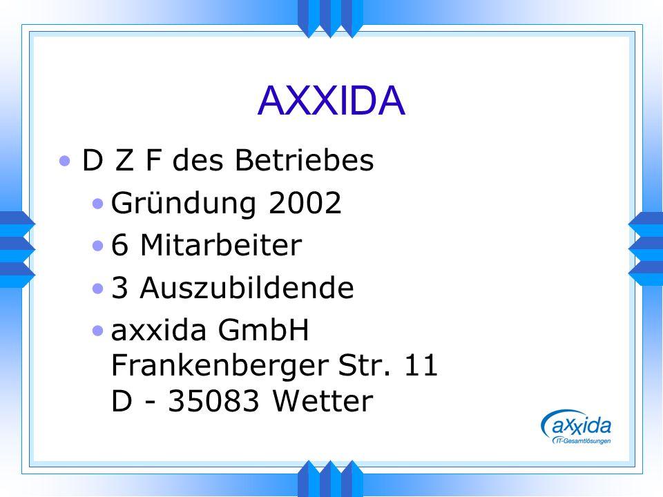 AXXIDA D Z F des Betriebes Gründung 2002 6 Mitarbeiter 3 Auszubildende axxida GmbH Frankenberger Str. 11 D - 35083 Wetter