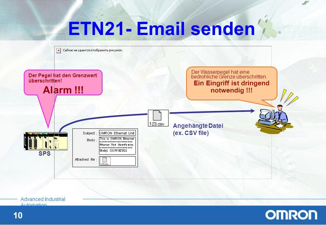 10 Advanced Industrial Automation ETN21- Email senden SPS Der Pegel hat den Grenzwert überschritten! Alarm !!! Angehängte Datei (ex. CSV file) Der Was