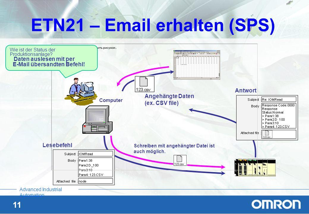 11 Advanced Industrial Automation ETN21 – Email erhalten (SPS) Lesebefehl Antwort Angehängte Daten (ex. CSV file) Wie ist der Status der Produktionsan