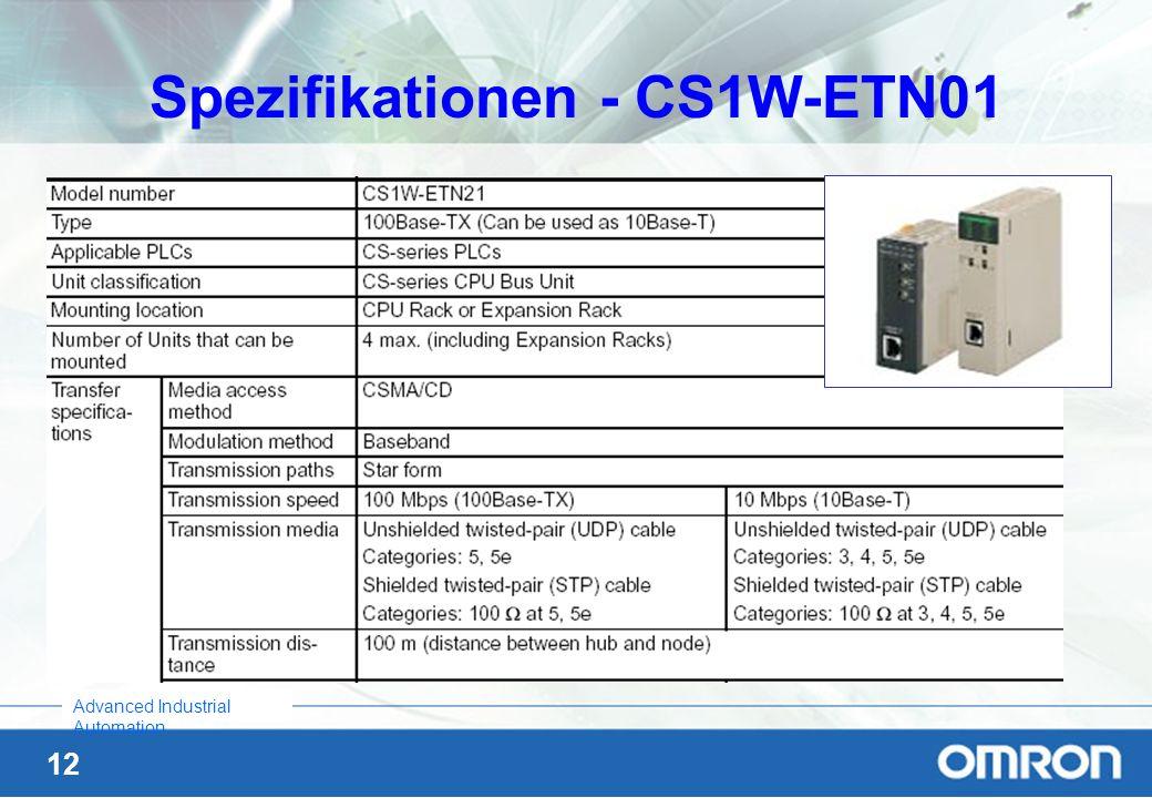 12 Advanced Industrial Automation Spezifikationen - CS1W-ETN01