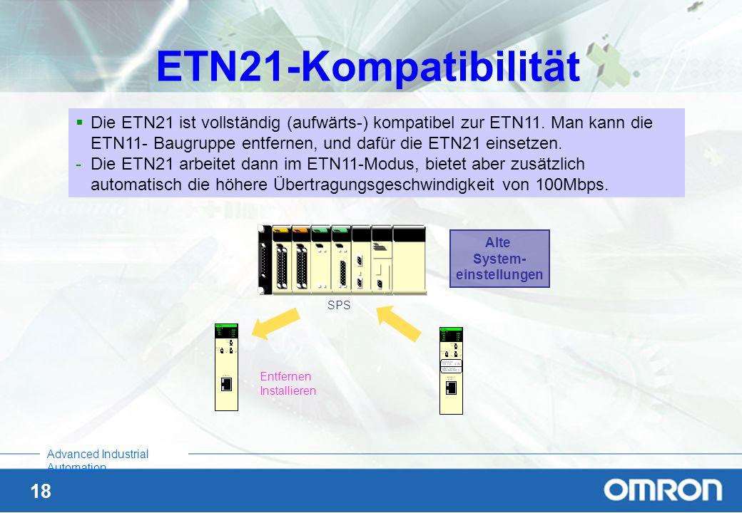 18 Advanced Industrial Automation ETN21-Kompatibilität SPS Alte System- einstellungen Entfernen Installieren Die ETN21 ist vollständig (aufwärts-) kom