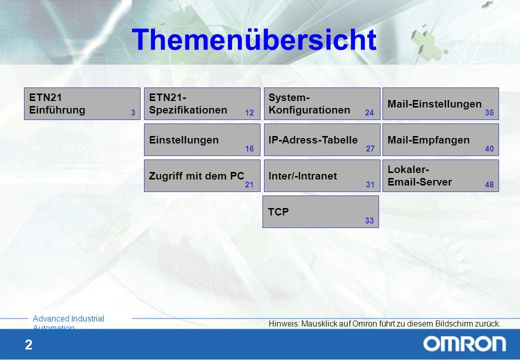 43 Advanced Industrial Automation Email – Befehlsliste 2 Befehle: (in der Betreffzeile) Beispiele für Parameter: (im Emailtext) Weitere stehen im Handbuch W421 Kap.3 Beschreibung ChangeMode Para1:run oder mon oder prg Ändert die SPS-Betriebsart: RUN oder MONITOR oder PROGRAM IOMRead Para1:58 (Format) Para2:D_100 (Startadresse) Para3:50 (Anzahl Worte) Liest den Inhalt des Datenspeichers (D00100 bis D00149) und schreibt ihn in eine Textdatei mit dem Namen BACKUP.TXT in den Anhang des Emails mit dem Format: 10 Worte pro Zeile, durch Tabs getrennt.