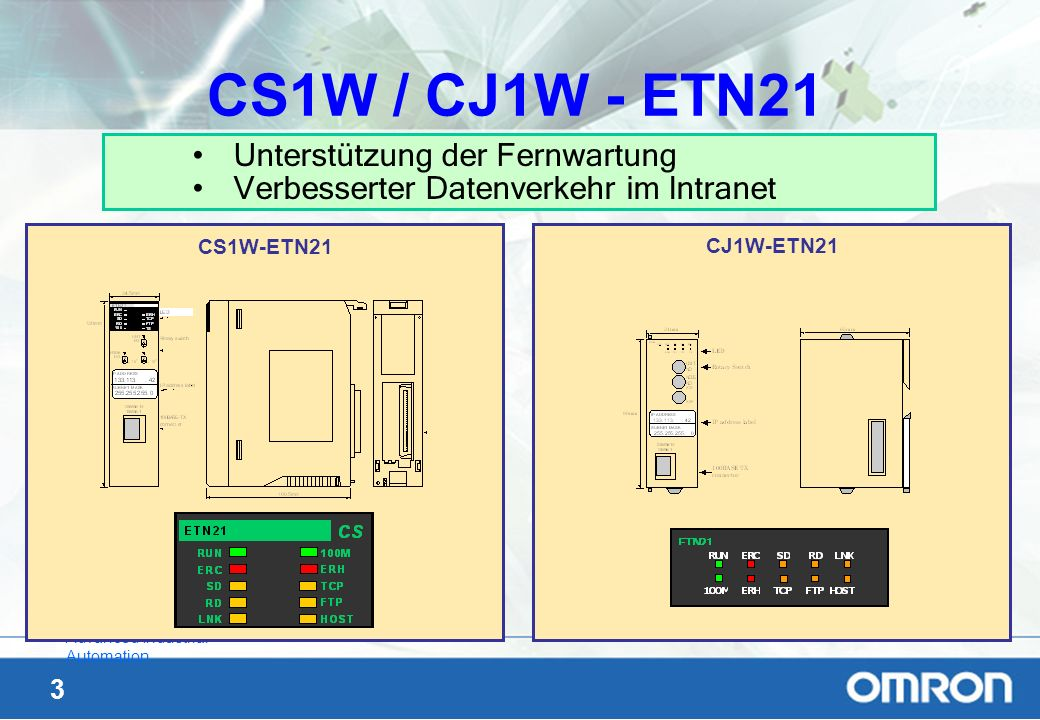 34 Advanced Industrial Automation Zwei Applikationen auf einem PC PC PLC: CS1 192.168.0.10 Ethernet-Hardware Ethernet-DriverUDP:9600 TCP:9600 WINDOWS Operating - System Application 1 SCADA Software Application 2 Vision Software node CX- Server I/ONCETNCPU with PLC-program DM-Memory D1000 for I/O part D2000 for NC-part UDP port 9600 192.168.0.5 node 5 Unit 0 TCP port 9600 Hat der Kunde ein Teil der Software auf dem PC selbst geschrieben (z.B.