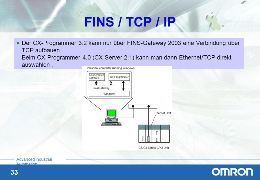 33 Advanced Industrial Automation FINS / TCP / IP Der CX-Programmer 3.2 kann nur über FINS-Gateway 2003 eine Verbindung über TCP aufbauen. -Beim CX-Pr