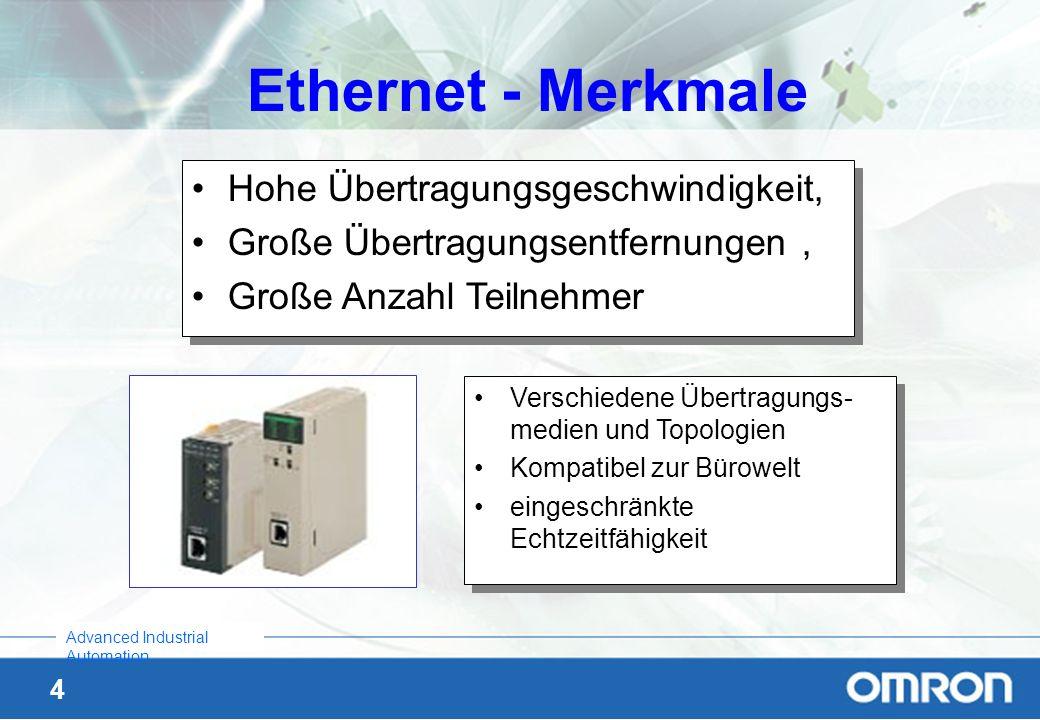 4 Advanced Industrial Automation Ethernet - Merkmale Verschiedene Übertragungs- medien und Topologien Kompatibel zur Bürowelt eingeschränkte Echtzeitf