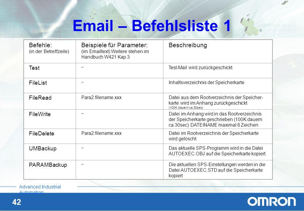 42 Advanced Industrial Automation Email – Befehlsliste 1 Befehle: (in der Betreffzeile) Beispiele für Parameter: (im Emailtext) Weitere stehen im Hand