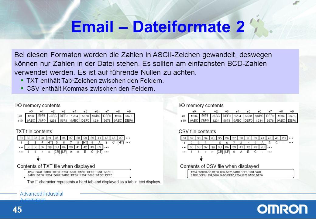 45 Advanced Industrial Automation Email – Dateiformate 2 Bei diesen Formaten werden die Zahlen in ASCII-Zeichen gewandelt, deswegen können nur Zahlen
