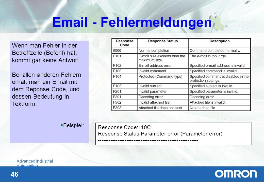 46 Advanced Industrial Automation Email - Fehlermeldungen Response Code:110C Response Status:Parameter error (Parameter error) -----------------------