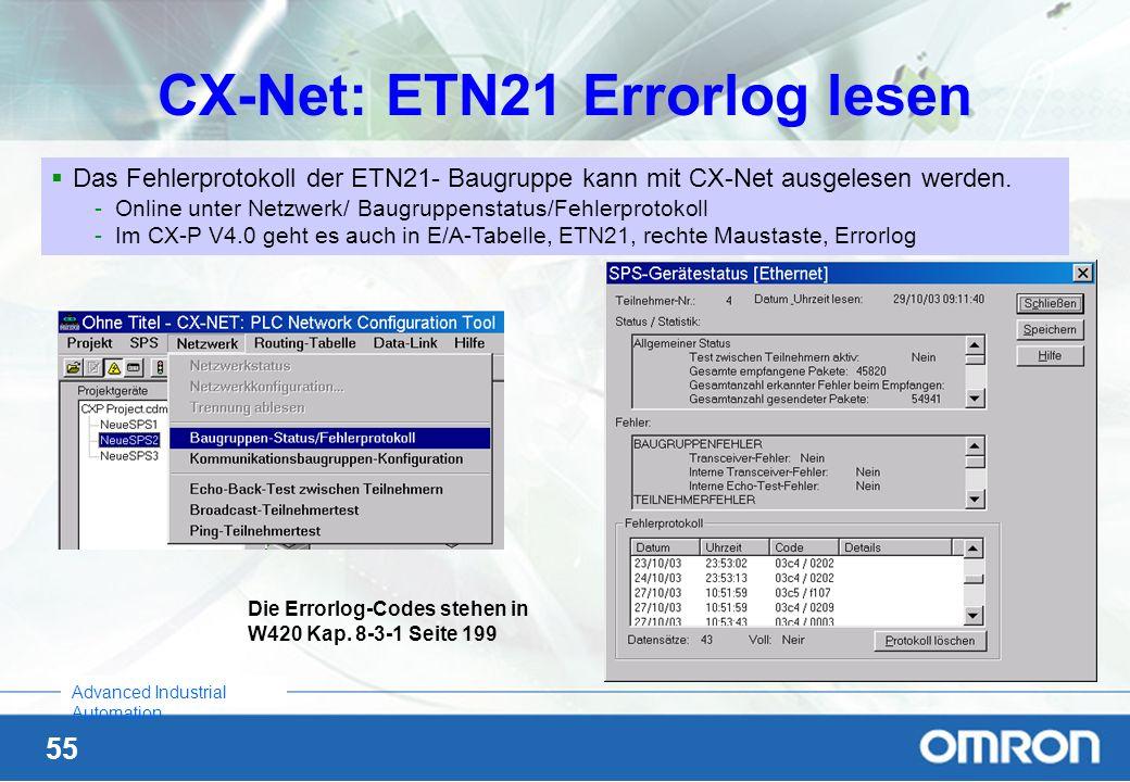 55 Advanced Industrial Automation CX-Net: ETN21 Errorlog lesen Das Fehlerprotokoll der ETN21- Baugruppe kann mit CX-Net ausgelesen werden. -Online unt