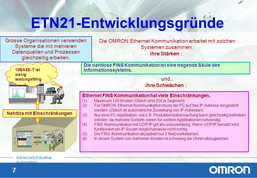 7 Advanced Industrial Automation ETN21-Entwicklungsgründe Die OMRON Ethernet Kommunikation arbeitet mit solchen Systemen zusammen. ihre Stärken und… i