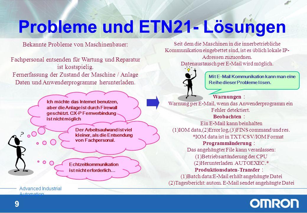 9 Advanced Industrial Automation Probleme und ETN21- Lösungen Bekannte Probleme von Maschinenbauer: Fachpersonal entsenden f ü r Wartung und Reparatur