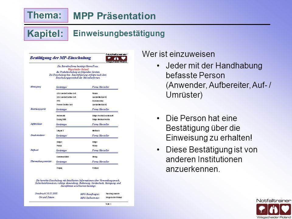 Kapitel: Thema: Einweisungbestätigung MPP Präsentation Wer ist einzuweisen Jeder mit der Handhabung befasste Person (Anwender, Aufbereiter, Auf- / Umr