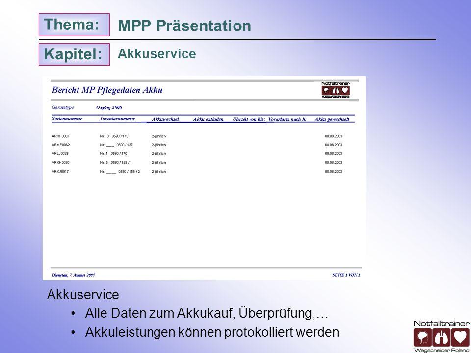 Kapitel: Thema: Akkuservice MPP Präsentation Akkuservice Alle Daten zum Akkukauf, Überprüfung,… Akkuleistungen können protokolliert werden