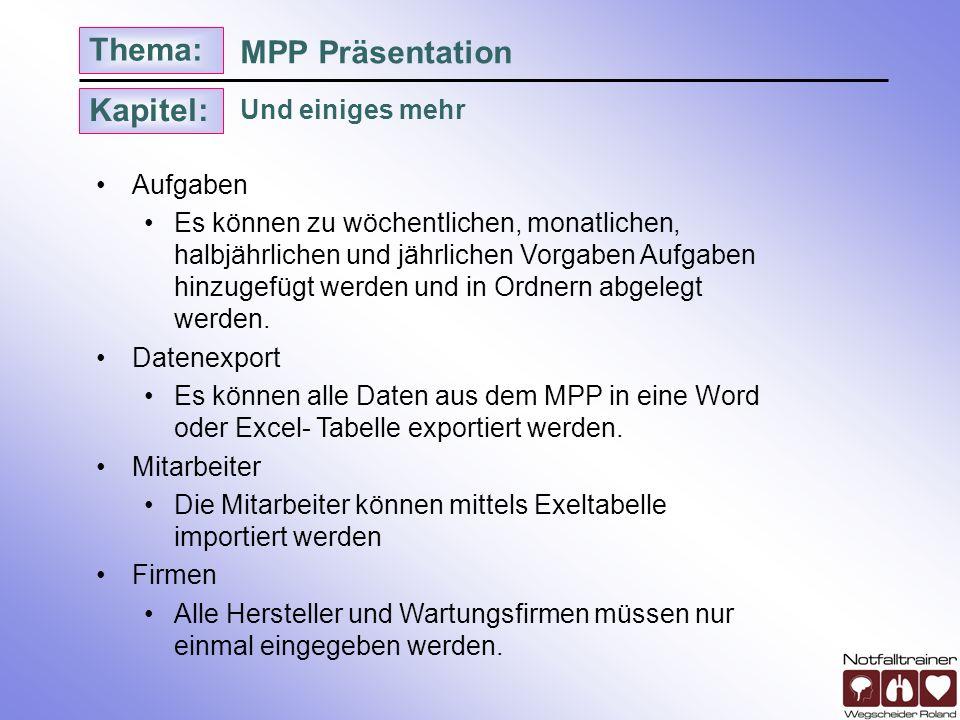Kapitel: Thema: Und einiges mehr MPP Präsentation Aufgaben Es können zu wöchentlichen, monatlichen, halbjährlichen und jährlichen Vorgaben Aufgaben hi