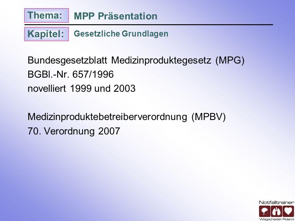 Kapitel: Thema: Gesetzliche Grundlagen MPP Präsentation Bundesgesetzblatt Medizinproduktegesetz (MPG) BGBl.-Nr. 657/1996 novelliert 1999 und 2003 Medi