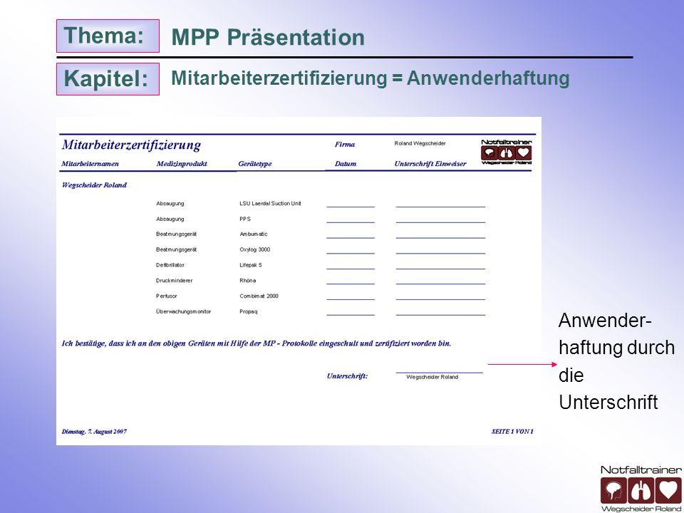 Kapitel: Thema: Mitarbeiterzertifizierung = Anwenderhaftung MPP Präsentation Anwender- haftung durch die Unterschrift