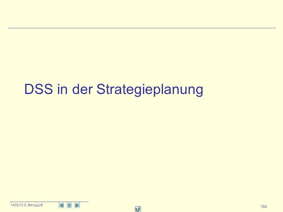 14/02/13 G. Beroggi © 104 DSS in der Strategieplanung