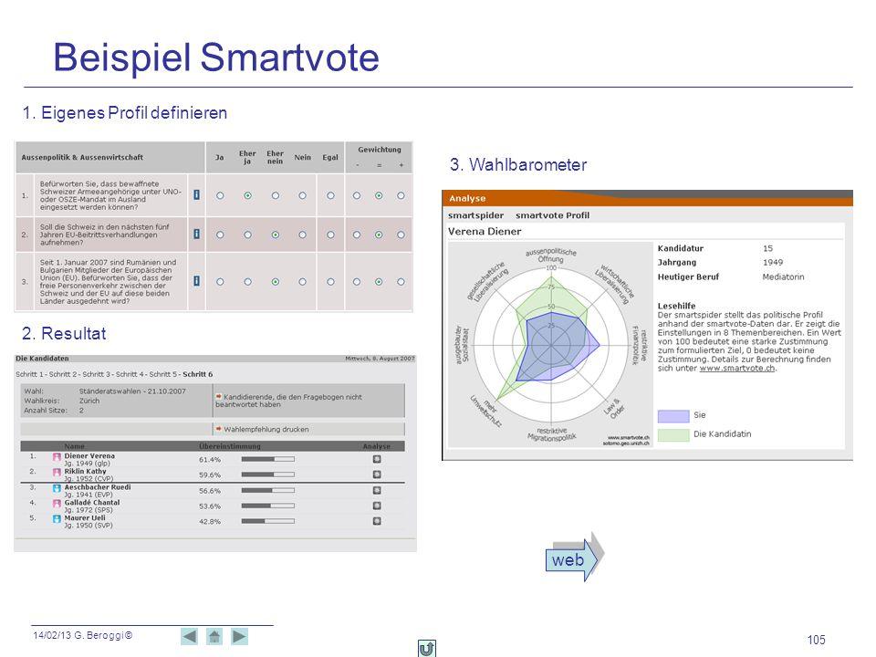 14/02/13 G. Beroggi © 105 Beispiel Smartvote 1. Eigenes Profil definieren 2. Resultat 3. Wahlbarometer web