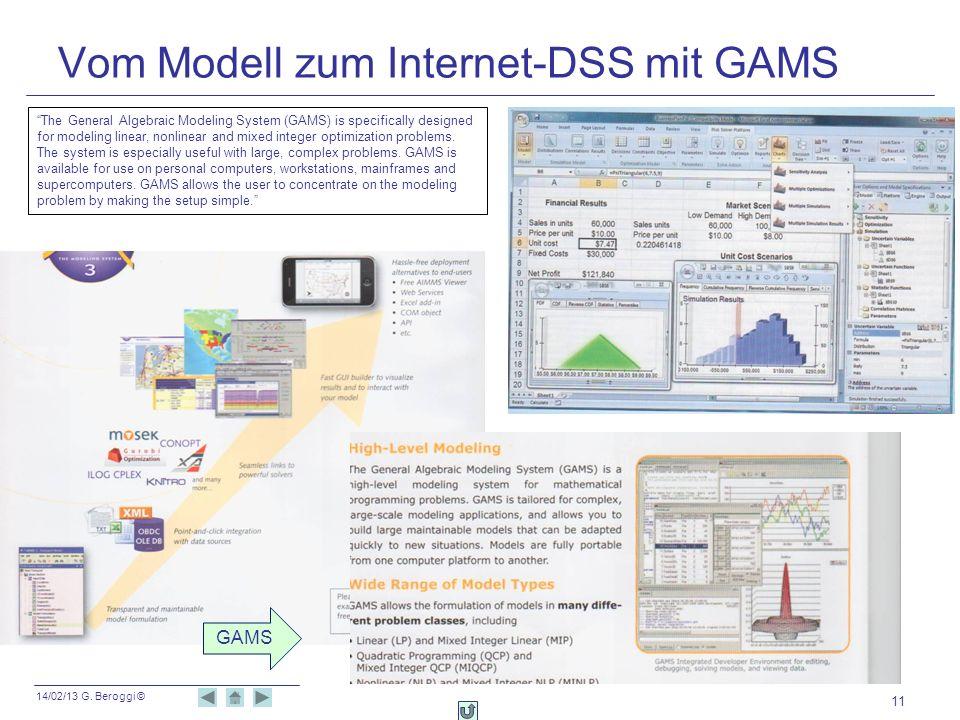 14/02/13 G. Beroggi © 11 Vom Modell zum Internet-DSS mit GAMS GAMS The General Algebraic Modeling System (GAMS) is specifically designed for modeling