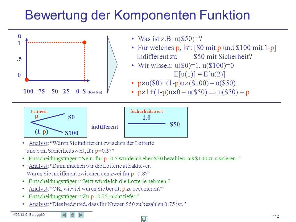 14/02/13 G. Beroggi © 112 Analyst: Wären Sie indifferent zwischen der Lotterie und dem Sicherheitswert, für p=0.5? Entscheidungsträger: Nein, für p=0.