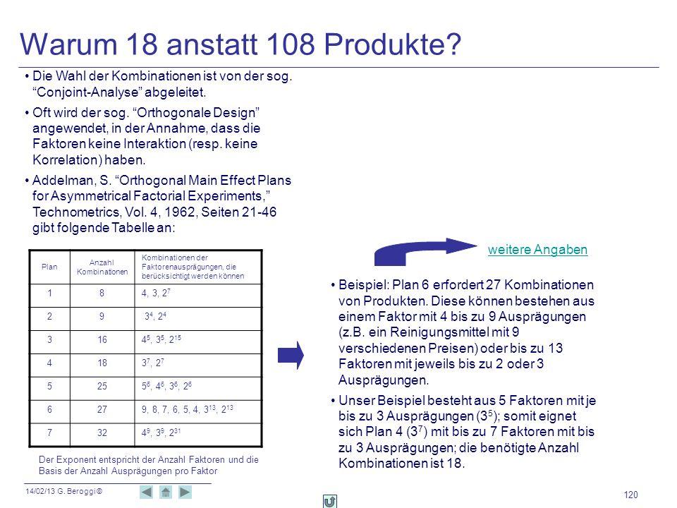 14/02/13 G. Beroggi © 120 Warum 18 anstatt 108 Produkte? Die Wahl der Kombinationen ist von der sog. Conjoint-Analyse abgeleitet. Oft wird der sog. Or