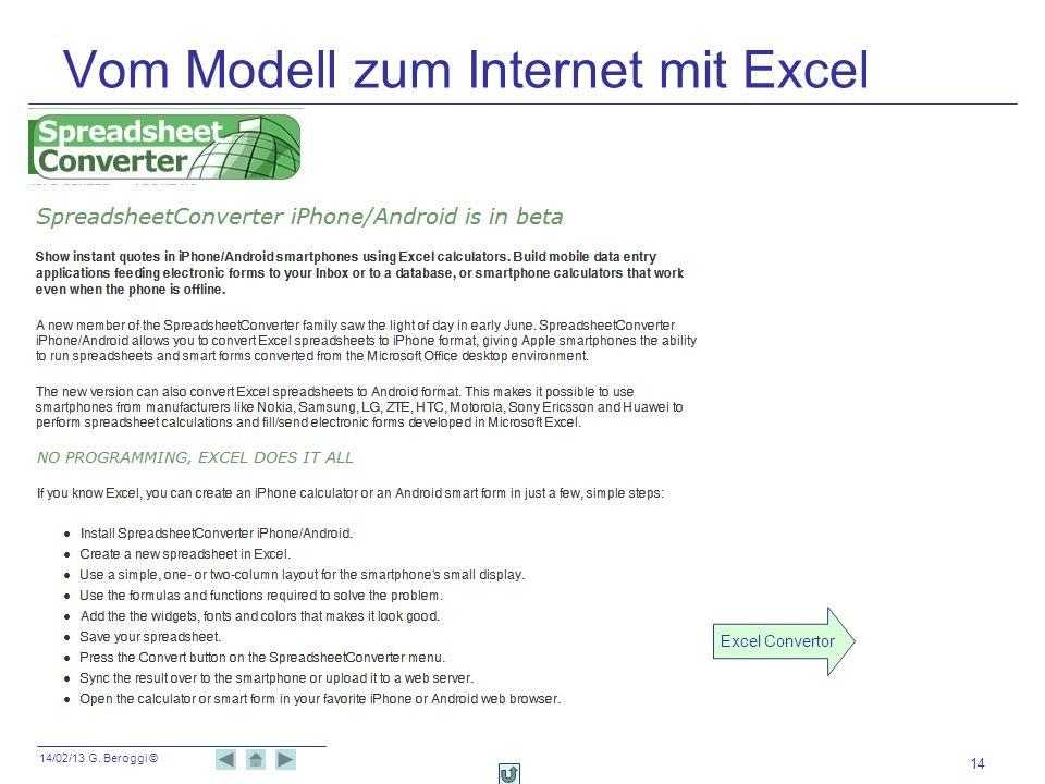14/02/13 G. Beroggi © Vom Modell zum Internet mit Excel 14 Excel Convertor