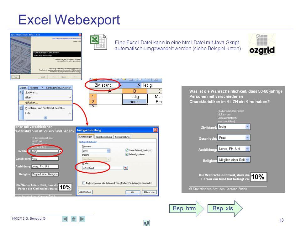 14/02/13 G. Beroggi © 18 Excel Webexport Eine Excel-Datei kann in eine html-Datei mit Java-Skript automatisch umgewandelt werden (siehe Beispiel unten