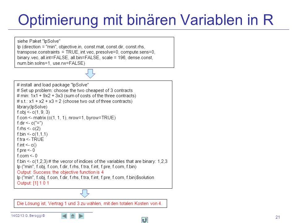 14/02/13 G. Beroggi © Optimierung mit binären Variablen in R 21 # install and load package