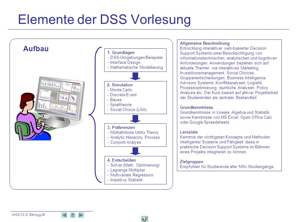 14/02/13 G. Beroggi © Elemente der DSS Vorlesung 3. Präferenzen -Multiattribute Utility Theory -Analytic Hierarchy Process -Conjoint Analyse 2. Simula