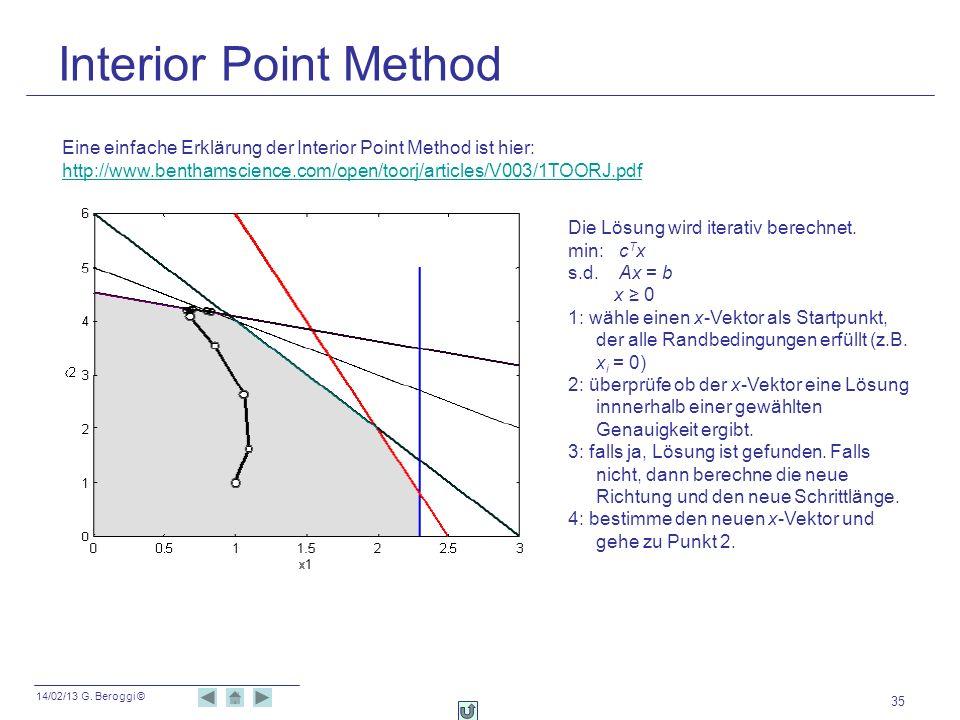 14/02/13 G. Beroggi © Interior Point Method 35 Eine einfache Erklärung der Interior Point Method ist hier: http://www.benthamscience.com/open/toorj/ar