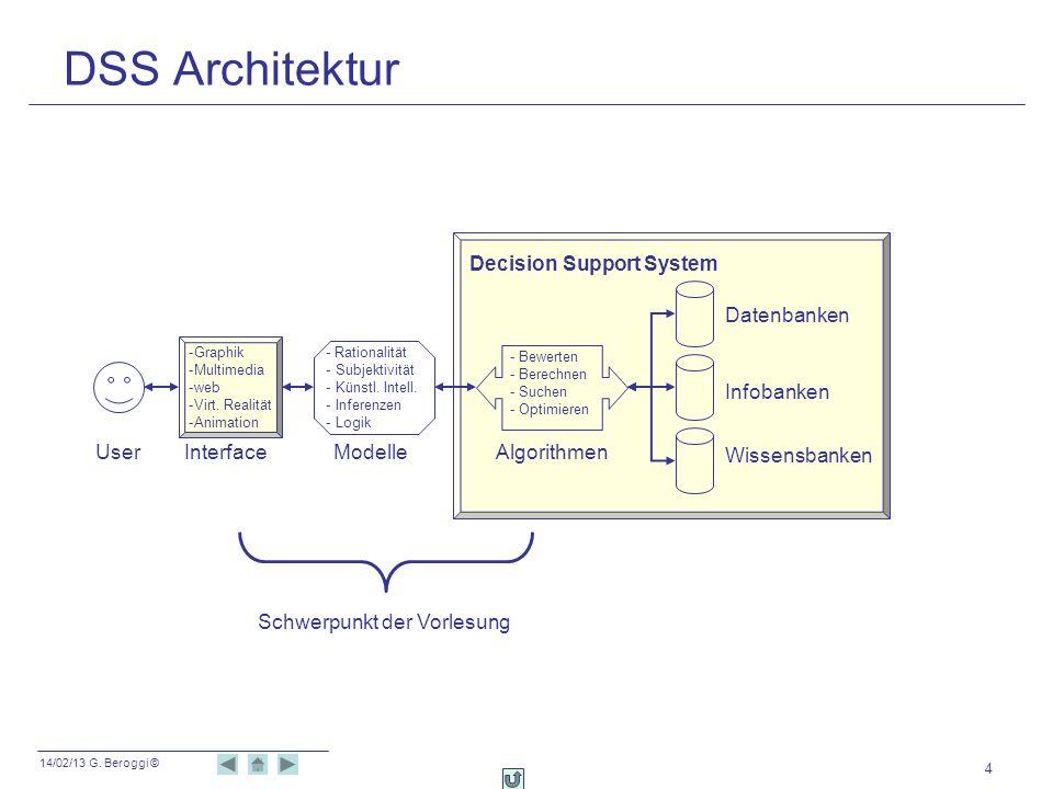 14/02/13 G. Beroggi © 4 DSS Architektur User -Graphik -Multimedia -web -Virt. Realität -Animation Interface Datenbanken Infobanken Wissensbanken - Bew