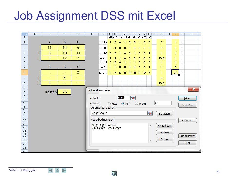 14/02/13 G. Beroggi © Job Assignment DSS mit Excel 41