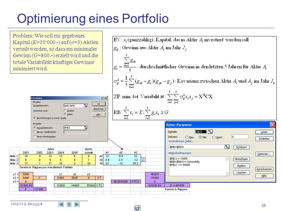 14/02/13 G. Beroggi © 58 Optimierung eines Portfolio Problem: Wie soll ein gegebenes Kapital (K=10000.-) auf (n=3) Aktien verteilt werden, so dass ein