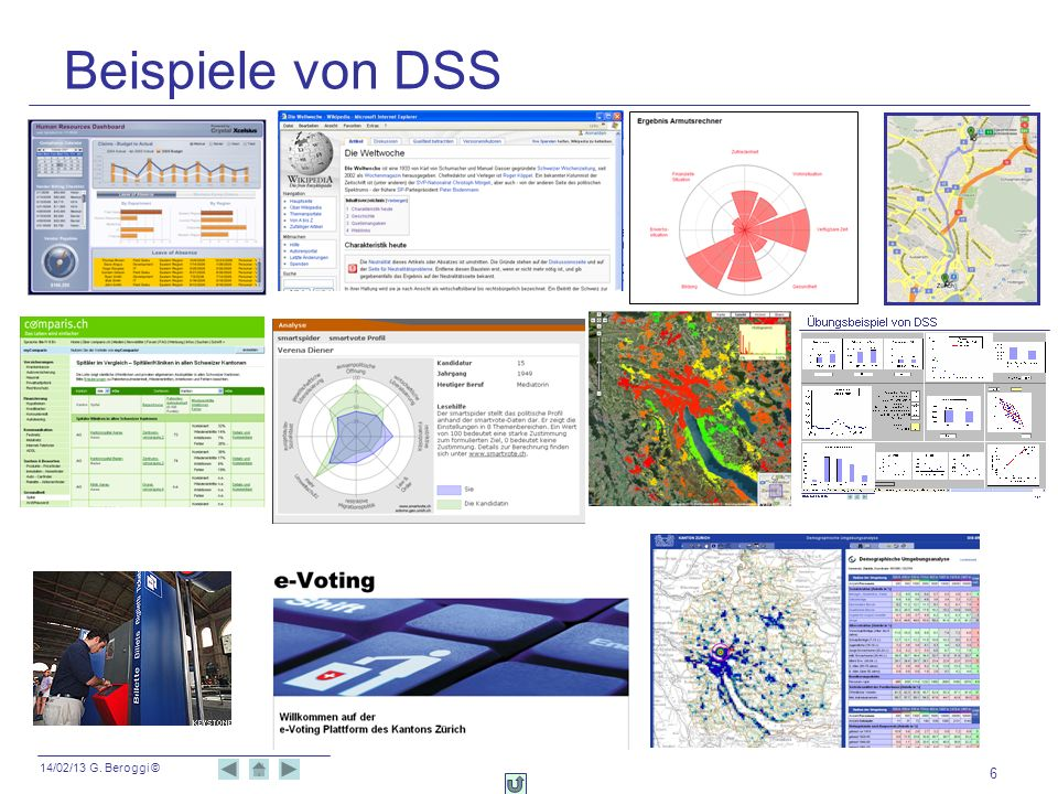14/02/13 G. Beroggi © 6 Beispiele von DSS