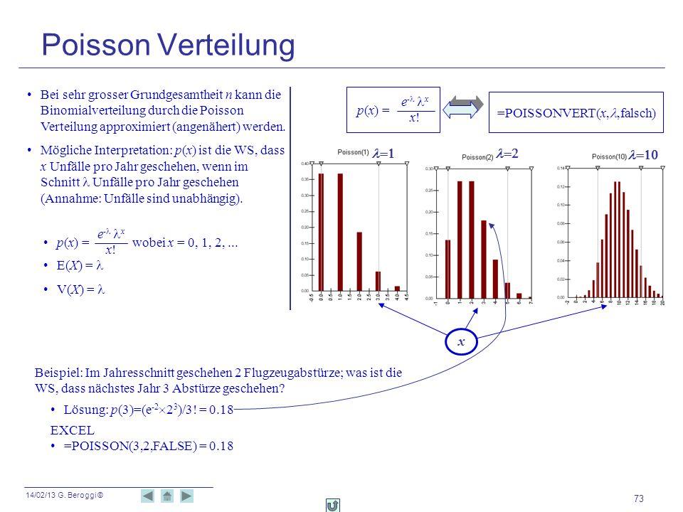 14/02/13 G. Beroggi © 73 Poisson Verteilung Bei sehr grosser Grundgesamtheit n kann die Binomialverteilung durch die Poisson Verteilung approximiert (