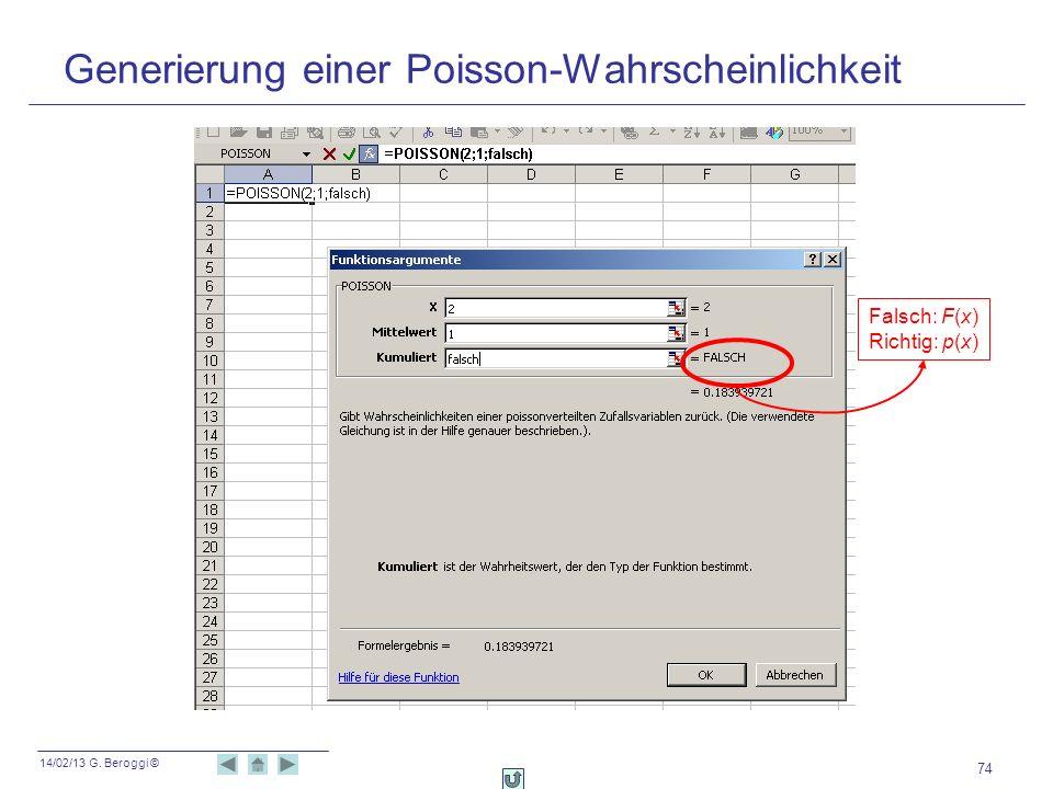 14/02/13 G. Beroggi © 74 Falsch: F(x) Richtig: p(x) Generierung einer Poisson-Wahrscheinlichkeit