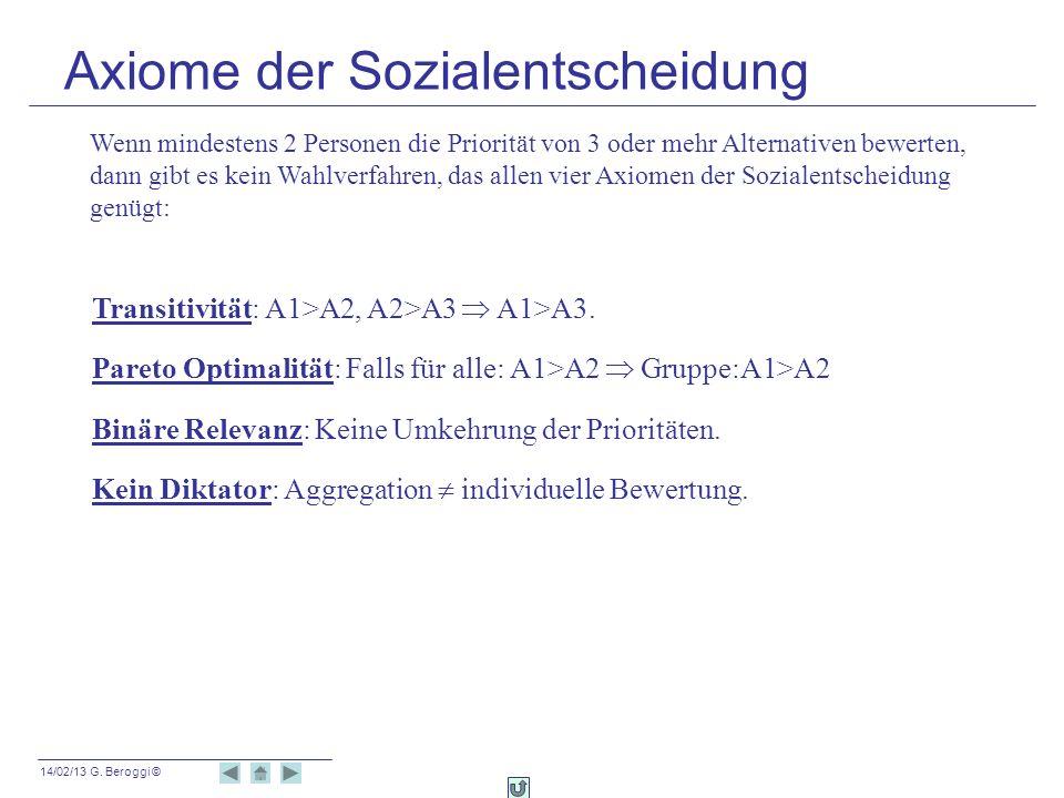 14/02/13 G. Beroggi © Transitivität: A1>A2, A2>A3 A1>A3. Pareto Optimalität: Falls für alle: A1>A2 Gruppe:A1>A2 Binäre Relevanz: Keine Umkehrung der P