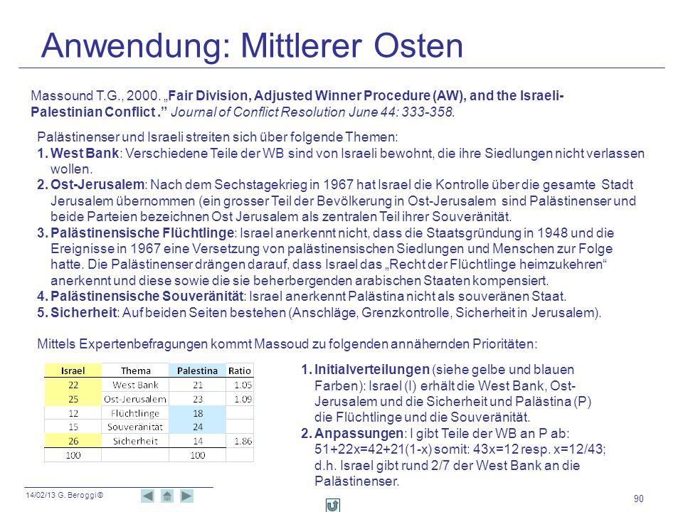 14/02/13 G. Beroggi © Anwendung: Mittlerer Osten 90 Massound T.G., 2000. Fair Division, Adjusted Winner Procedure (AW), and the Israeli- Palestinian C