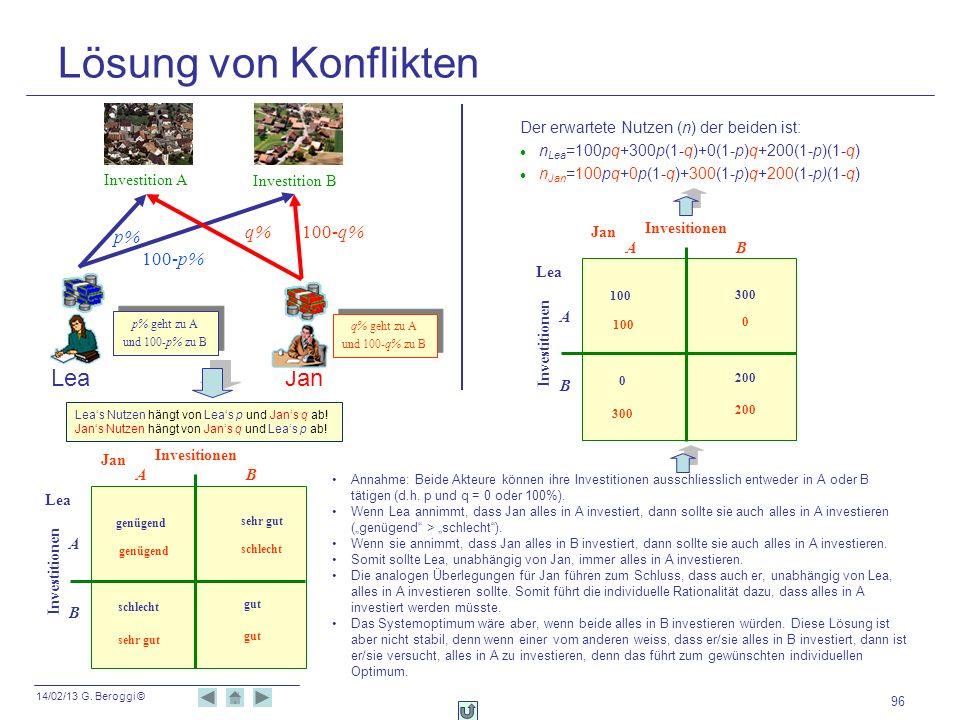 14/02/13 G. Beroggi © 96 Lösung von Konflikten Leas Nutzen hängt von Leas p und Jans q ab! Jans Nutzen hängt von Jans q und Leas p ab! LeaJan p% 100-p