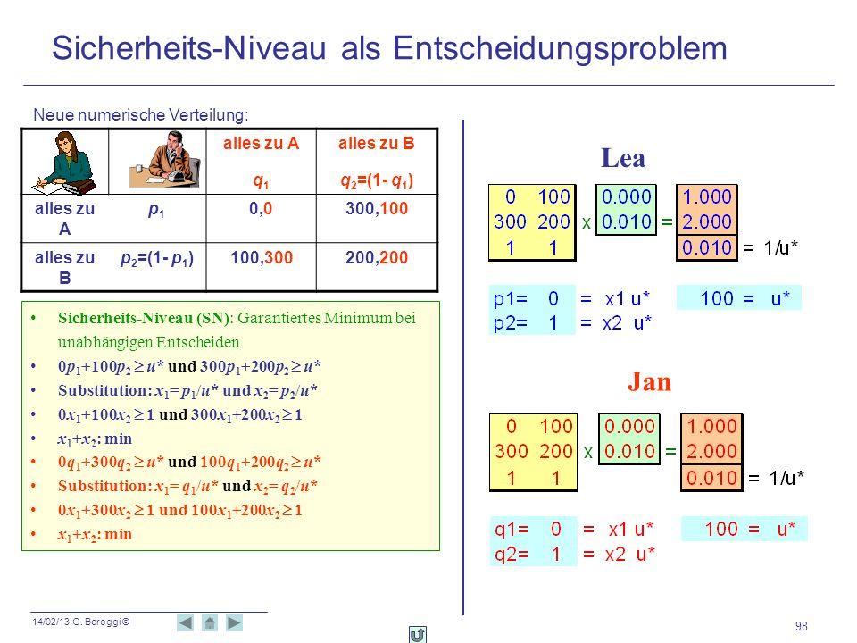 14/02/13 G. Beroggi © 98 Sicherheits-Niveau (SN): Garantiertes Minimum bei unabhängigen Entscheiden 0p 1 +100p 2 u* und 300p 1 +200p 2 u* Substitution