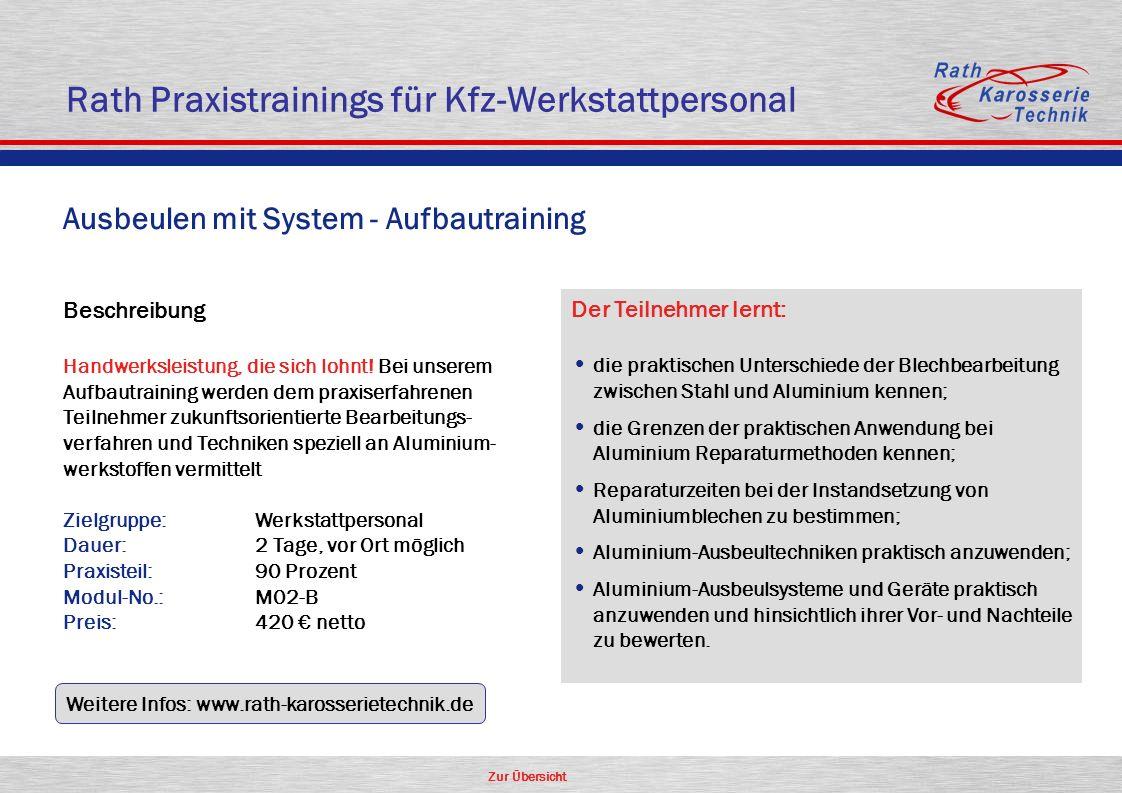 Zur Übersicht Ausbeulen mit System - Aufbautraining Beschreibung Handwerksleistung, die sich lohnt! Bei unserem Aufbautraining werden dem praxiserfahr