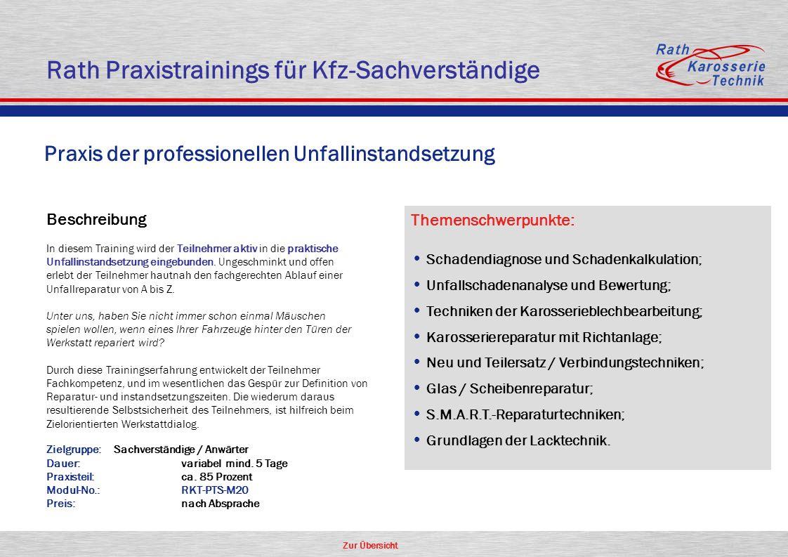 Zur Übersicht Rath Praxistrainings für Kfz-Sachverständige Beschreibung In diesem Training wird der Teilnehmer aktiv in die praktische Unfallinstandse