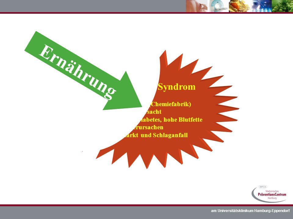 am Universitätsklinikum Hamburg-Eppendorf metabolisches Syndrom = zuviel Bauchfett (Chemiefabrik) verursacht Bluthochdruck, Diabetes, hohe Blutfette v