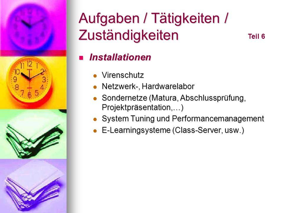 Aufgaben / Tätigkeiten / Zuständigkeiten Teil 6 Installationen Installationen Virenschutz Virenschutz Netzwerk-, Hardwarelabor Netzwerk-, Hardwarelabo